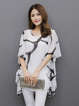 Casual Printed Batwing Sleeve Blouse