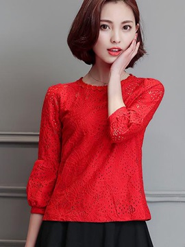 Stylish Appliques Collar Short Lace Blouse