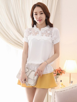 Chic Pleated Collar Lace Decoration Short Blouse