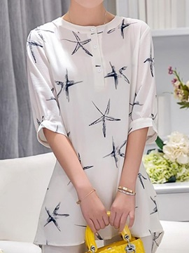 Chic Star Pattern Half Sleeves Blouse