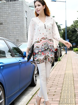 Stylish Floral Printed Batwing Sleeves Loose Blouse