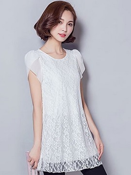 Stylish Short Chiffon Sleeves Lace Blouse