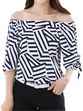 Stylish Geometric Pattern Three-Quarter Sleeves Blouse
