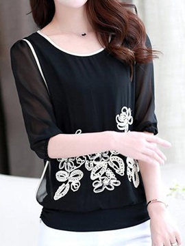 Double-Layer Appliques Decoration Short Blouse