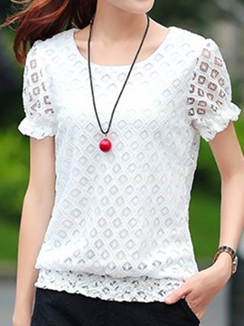 Simple See-through Sleeves Lace Blouse