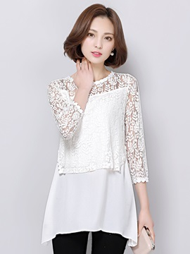 Special Chiffon Hem Lace Sleeves Blouse