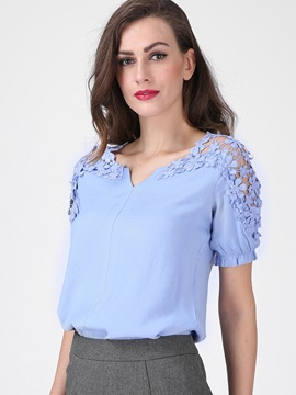 Chic Appliques Short Sleeves Blouse