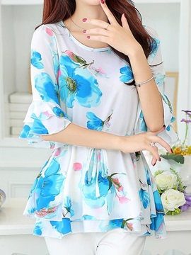 Chic Lace-up Floral Printed Blouse