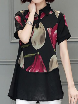 Chic Shirt Collar Floral Printed Blouse