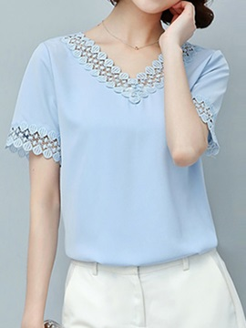 Stylish Hollow Collar and Cuff Blouse