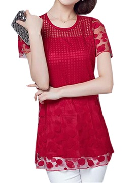Special Short Lace Sleeves Slim Lace Blouse