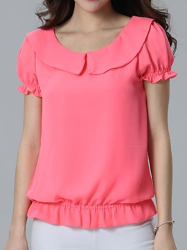 Stylish Peter Pan Collar Short Blouse