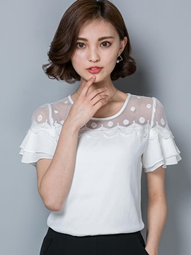 See-through Collar Double-Layer Cuff Blouse