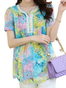 Chic Bead Decoration Collar Floral Printed Blouse