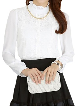 Chic Stand Collar Lace Decoration Blouse