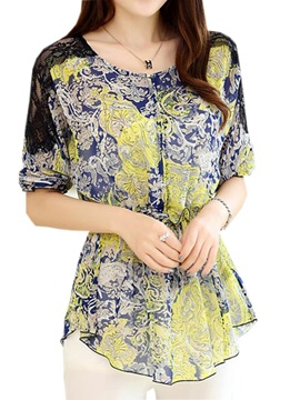 Chic Lace Decoration Shoulder Floral Printed Blouse
