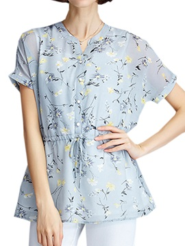 Rural Style Floral Printed Slim Blouse