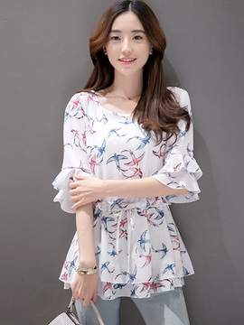 Ladylike Double-Layer Cuff Floral Printed Blouse
