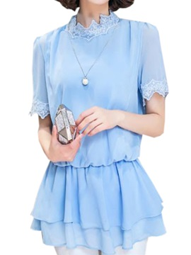 Special Lace Stand Collar Blouse