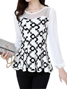 Special Pattern See-through Collar Blouse