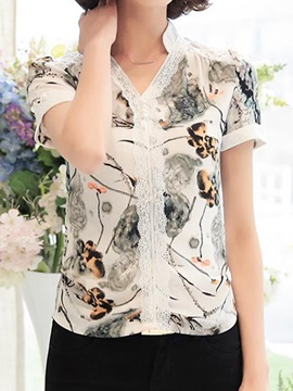 Chic Lace Decoration Slim Floral Printed Blouse