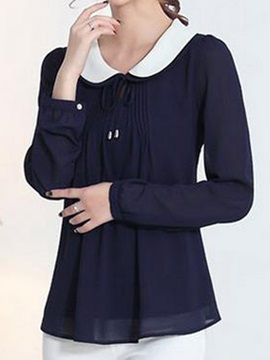 Chic Peter Pan Collar Lace-up Blouse