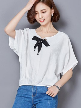 Chic Bowknot Decoration Short Blouse