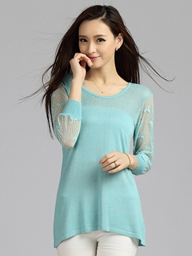 See-through Three-Quarter Sleeves Blouse
