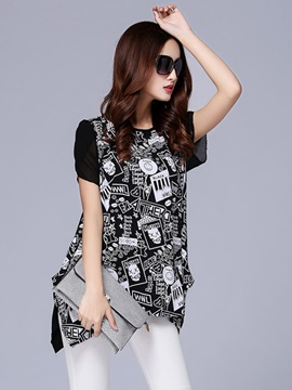 Cute Pattern Short Sleeves Blouse