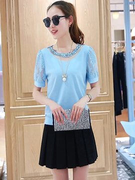 See-through Bead Decoration Collar Blouse
