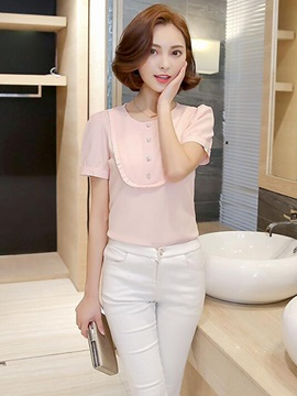 Stylish Pleated and Button Decoration Blouse