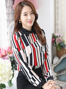 Special Color Stripe Bowknot Collar Blouse