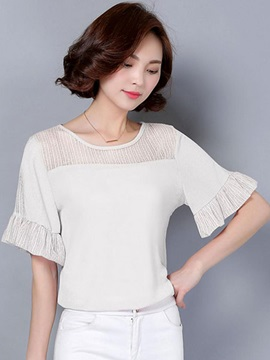 Stylish Pleated Cuff See-through Collar Blouse