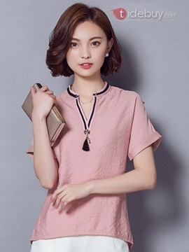 Stylish Collar Roll-up Sleeves Short Blouse
