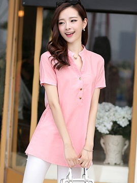 Splendid Button Decoration Collar Slim Blouse