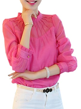 Stylish Pleated Decoration Collar Slim Blouse