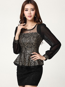 Splendid Pattern See-through Sleeves Blouse
