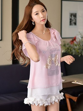 Cute Pattern Double-Layer Sleeves Blouse