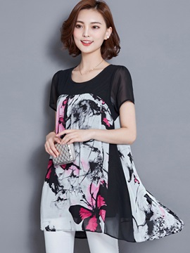 Stylish Butterfly Printed Mid-Length Chiffon Blouse