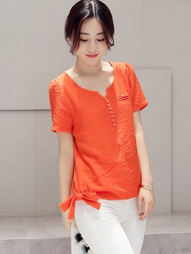 Stylish Plain Lace-Up Decorated Blouse