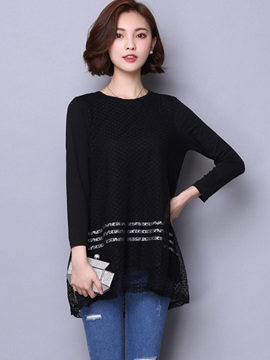 Stylish Plain Double-Layer Mid-Length Blouse