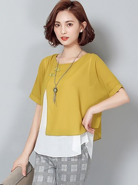 Special Button Decoration Double-Layer Blouse