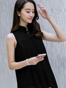 Stylish Collar Sleeveless Slim Blouse