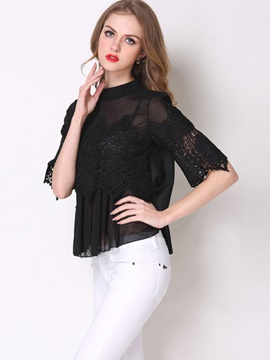 See-through Collar Half Lace Sleeves Blouse