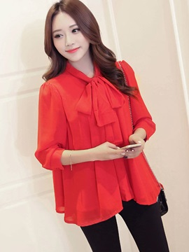 Sweet Solid Color Hemline Loose Blouse
