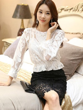 See-through Nine Points Sleeves Short Blouse