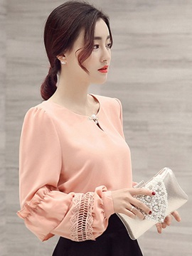 Stylish Hollow Fabric Decoration Sleeves Blouse