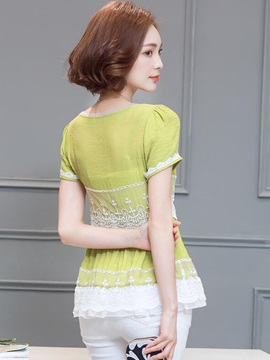 Ladylike Lace Decoration Slim Blouse
