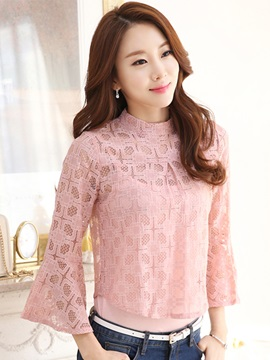 Stylish See Through Flare Sleeve Blouse