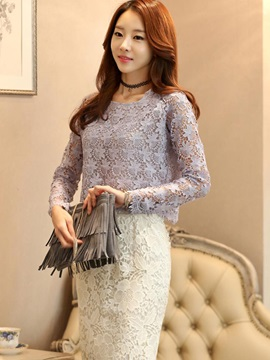 Stylish Solid Color Lace Blouse